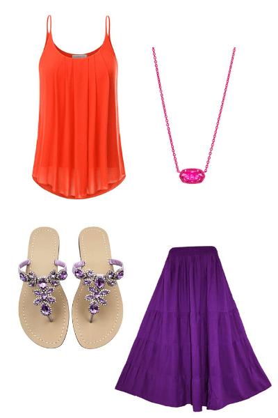colorblock orange and purple casual long skirt