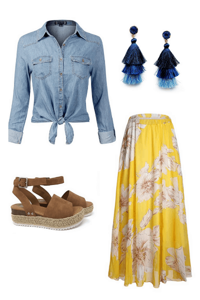 casual long skirt outfit idea