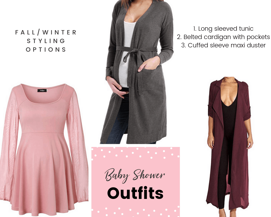 fall or winter styling options for your baby shower outfit