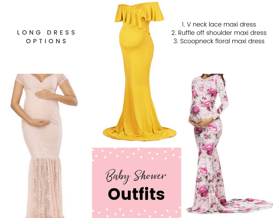 maxi dress length baby shower outfits